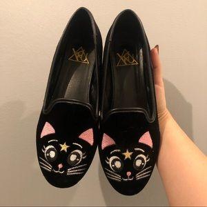 YRU Luna Cat Velvet Flats